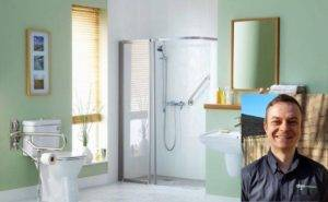 Accessible bathroom with walk in shower