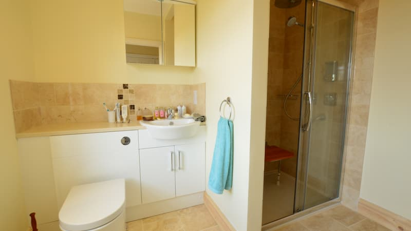 cream bathroom with walk in shower, seat, toilet and sink